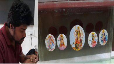 Photo of ছোট্ট টিপের ওপর দূর্গা মায়ের ছবি এঁকে তাক লাগালেন বাঙালি যুবক, প্রশংসার ঝড় নেট দুনিয়ায়